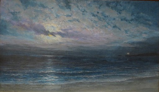 'Moonlight on Ocean (Kauai)' by Alfred Richard Gurrey, Sr., c. 1918, Hawaii State Art Museum