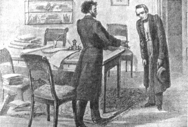 Рисунок П. Бореля «Кольцов у Пушкина»
