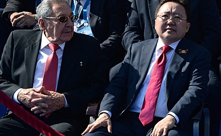 Raul Castro with Mongolian President Elbegdorj during the Moscow Victory Day Parade, 9 May 2015 Parad v chest' 70-letiia Velikoi Pobedy - 42.jpg
