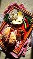 Традиционално печено лебче во фурна со познатата к'цана сол од Кратово, Македонски домашен ајвар, домашно сирење и кашкавал.jpg
