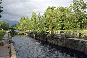 Volkhovsky District - A lock of the Old Ladoga Canal (disused) in the town of Novaya Ladoga.
