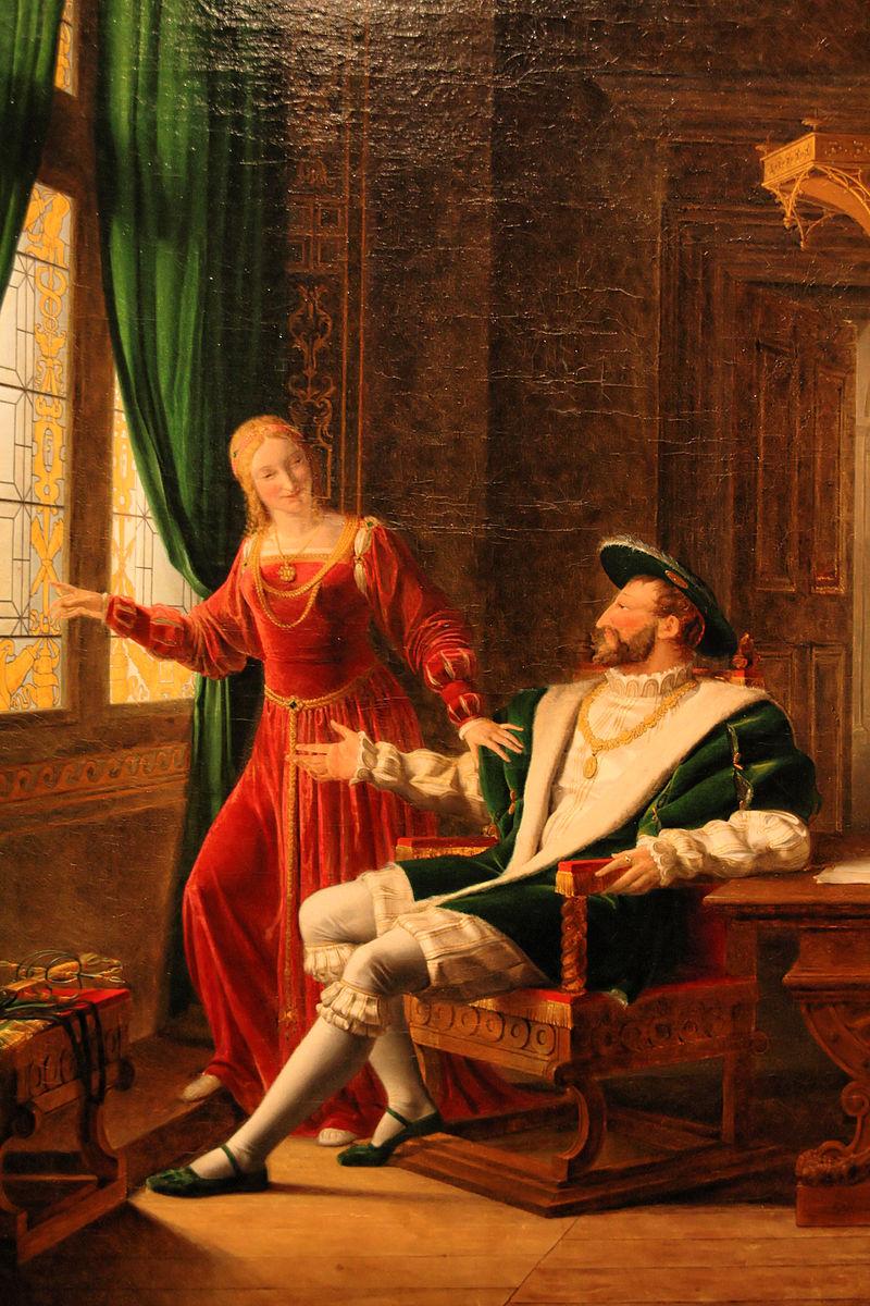 004. François Ier montre à Marguerite de Navarre, sa sœur, les vers qu'il vient d'écrire sur une vitre avec son diamant, Флери Франсуа Ришар - détail DxO hdr.jpg