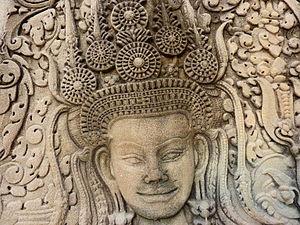 Khmer sculpture - Apsara carving at Angkor Wat.