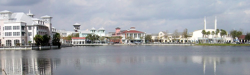 A view of downtown Celebration, Florida: the community was planned by The Walt Disney Company.