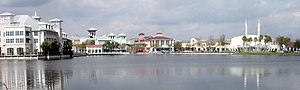 A view of downtown Celebration, Florida: the c...