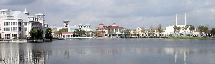 A view of downtown Celebration, Florida, a community that was planned by the Walt Disney Company.