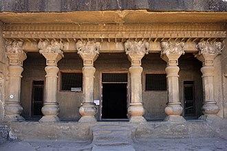 """Nashik - Cave No.10 """"Nahapana Vihara"""" at Pandavleni caves, (circa 120 CE)."""