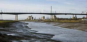 Avonmouth - The River Avon with Avonmouth and the M5 bridge