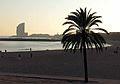 094 Platja de la Barceloneta, al fons l'Hotel Vela.JPG