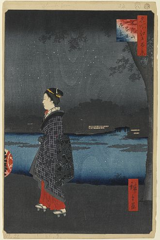 Sumida River - San-ya-bori Canal in the Sumida River. Ukiyo-e woodblock print by Utagawa Hiroshige in the Edo period