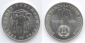 East German mark - A 10 Mark coin issued in 1986, to commemorate the 100th Anniversary of the birth of Ernst Thälmann.
