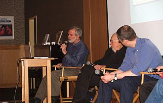 Sam Viviano - From left to right: Viviano, Al Jaffee and Tim Carvell at a signing for Inside Mad in 2013