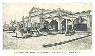 Desbrosses Street Ferry - Desbrosses Street Ferry depot, ca.1890