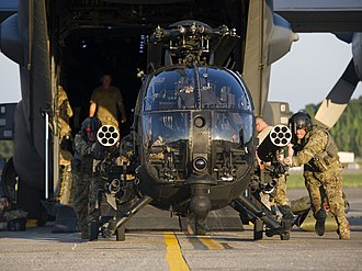 160th Special Operations Aviation Regiment (Airborne) - Two AH-6Ms from the 160th SOAR offload from a 15th SOS MC-130H Combat Talon II during a rapid deployment exercise