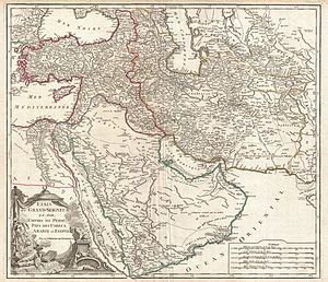1753 Vaugondy Map of Persia, Arabia and Turkey...