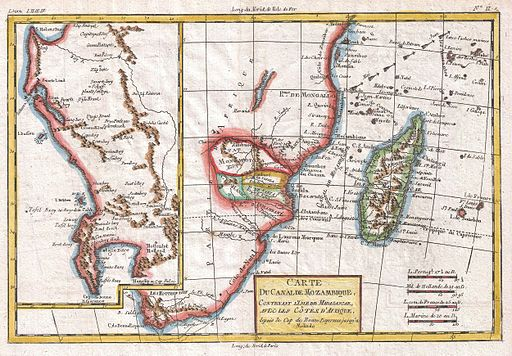 1780 Raynal and Bonne Map of South Africa, Zimbabwe, Madagascar, and Mozambique - Geographicus - Mozambique-bonne-1780