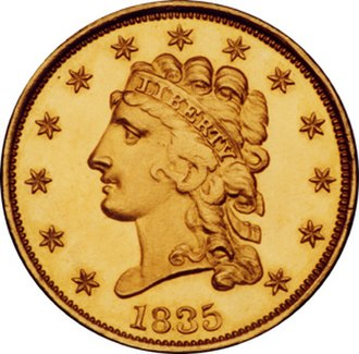 "Classic Head - The obverse of a ""Classic Head"" quarter eagle."