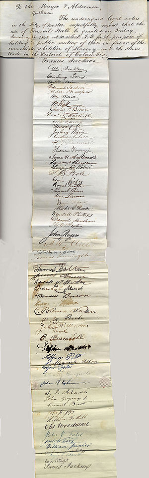 Francis Jackson (abolitionist) - Image: 1842 Francis Jackson petition 1 Boston City Archives