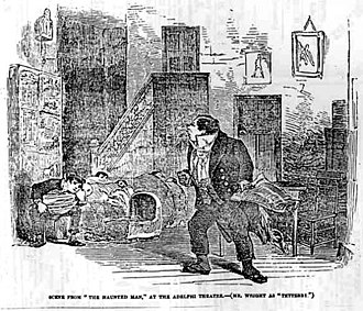 The Haunted Man and the Ghost's Bargain - Scene from The Haunted Man at the Adelphi Theatre, in the Illustrated London News, December 30, 1848.