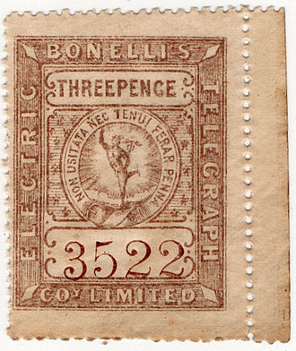 Telegraph stamp - A stamp of Bonelli's Electric Telegraph Co. Ltd, issued around 1862