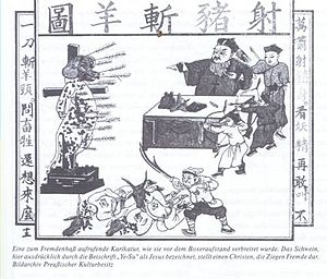 Ethnic issues in China - Westerners shown as pig and goat and being executed by Chinese officials, image from the Boxer Rebellion
