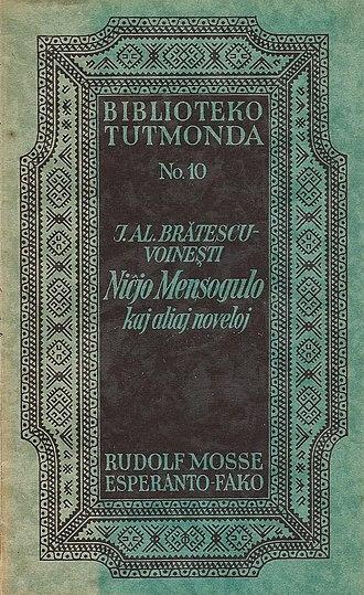 Ioan Alexandru Brătescu-Voinești - Cover of Brătescu-Voinești's sketches and novellas in the Esperanto edition of 1927