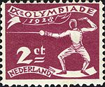 1928 Summer Olympics stamp of the Netherlands fencing.jpg