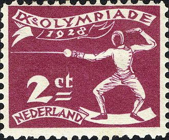 Fencing at the 1928 Summer Olympics - Fencing at the 1928 Summer Olympics on a stamp of the Netherlands