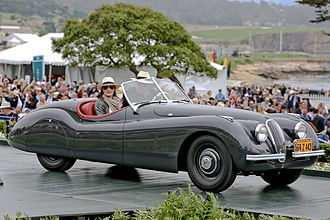 Jaguar XK120 - The first production XK120, chassis number 670003 originally owned by Clark Gable, at the 2012 Pebble Beach Concours d'Elegance.  The XK120 was the world's fastest production car at the time of its debut.