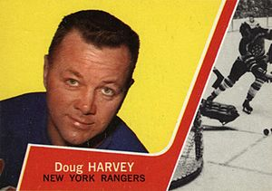 Doug Harvey (ice hockey) - Image: 1963 Topps Doug Harvey