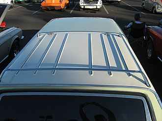 Roof rack - Factory-installed roof rack on a 1966 station wagon.