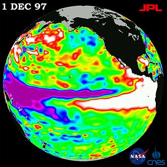 Ocean Surface Topography Mission - OSTM/Jason-2's predecessor TOPEX/Poseidon caught the largest El Niño in a century seen in this image from Dec. 1, 1997.
