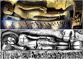 Mahaparinibbana scene, from the Ajanta caves 19th century sketch and 21st century photo collage, Cave 26 Ajanta, Buddha Parinirvana.jpg