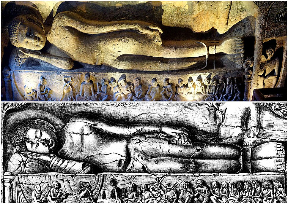 19th century sketch and 21st century photo collage, Cave 26 Ajanta, Buddha Parinirvana