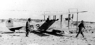 Aviation Section, U.S. Signal Corps - Lt. Carleton G. Chapman in 1st Aero Squadron Curtiss JN-3 Signal Corps No. 53 preparing to takeoff at Casas Grande, Mexico.