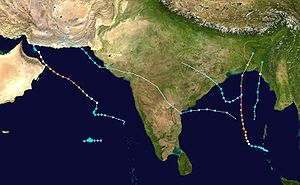 2007 North Indian Ocean cyclone season - Image: 2007 North Indian Ocean cyclone season summary