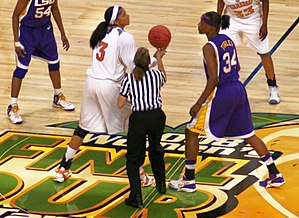 Candace Parker - Parker (left) gets ready for the jump ball against Sylvia Fowles (right)