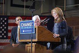 20080128 Caroline and Ted Kennedy endorsing Barack Obama.jpg