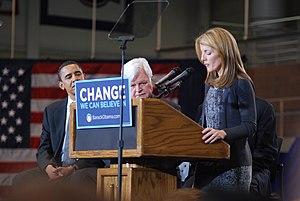 English: Caroline Kennedy, Ted Kennedy and Bar...