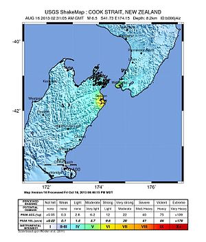2013 Lake Grassmere earthquake - USGS Shakemap