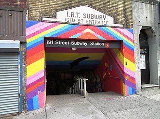 191st Street (IRT Broadway–Seventh Avenue Line) - Image: 2015 191st Street IRT station Broadway at 190th Street entrance