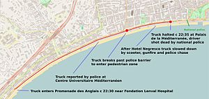 2016 Nice attack - Annotated map showing course of attack along the Promenade des Anglais