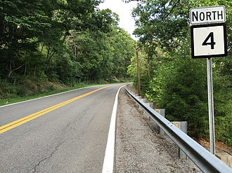 West Virginia Route 4 - View north along WV 4 at CR 4/20 in Duck