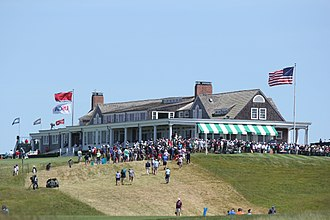 2018 U.S. Open (golf) - The first tee and clubhouse at Shinnecock Hills
