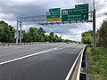 2019-05-27 12 24 34 View east along the inner loop of the Capital Beltway (Interstate 495) at Exit 36 (Maryland State Route 187-Old Georgetown Road, Bethesda, Rockville) on the edge of Bethesda and North Bethesda in Montgomery County, Maryland.jpg