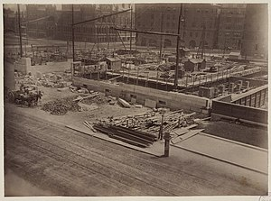 Milford pink granite - Boston Public Library under construction, 1889