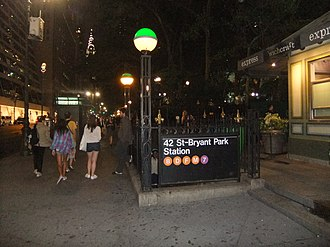 42nd Street–Bryant Park/Fifth Avenue (New York City Subway) - An entrance to the IND station.
