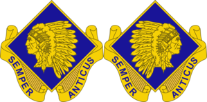 45th Infantry Brigade Combat Team (United States) - The DUI of the 45th IBCT is one of only a few that are authorized a mirror image.