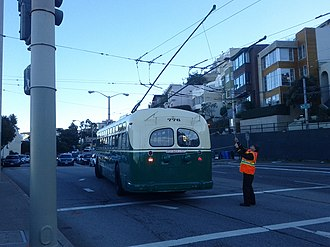 Trolleybuses in San Francisco - Preserved Muni trolleybus 776 photographed in 2012 at Market and Clayton on the original No. 33 trolleybus route established by Market Street Railway in 1935.