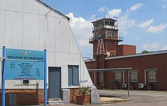 Air Force Base Swartkop - Air Force Museum entrance featuring the welcome sign and air traffic control tower